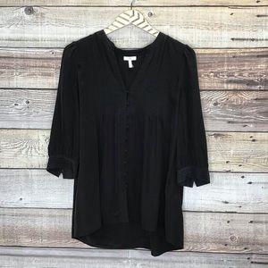 Joie 3/4 Sleeve Mesa Silk Blouse Small Black 0773
